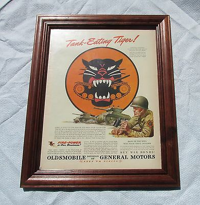 WW 2 US Army Tank Destroyer GM Ad Framed Oldsmobile Tank Eating Tiger
