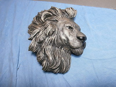 Vintage Wooden ? Carved Lion Head Plaque By Victor
