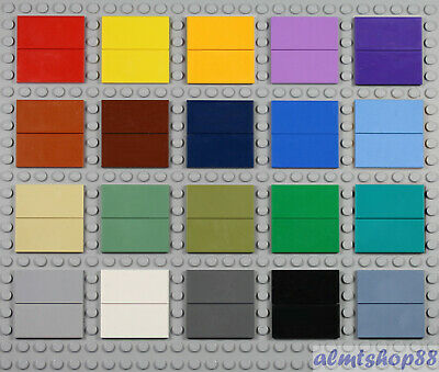 LEGO - 2x4 Tiles PICK YOUR COLORS - Smooth Finishing Plate Tile Blank Solid Lot