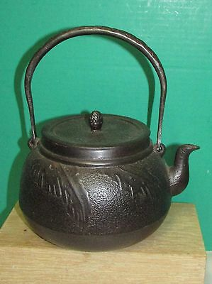 Antique Japanese Iron Teapot Tetsubin signed