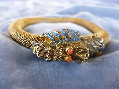Fat Antique Chinese Gold Gilt Sterling Silver Wire Mesh Dragon Bracelet W Enamel