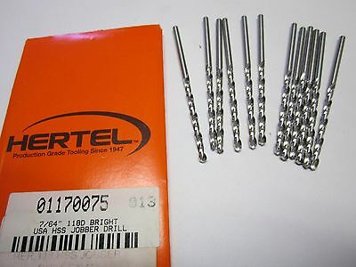 "Lot of 12 7/64"" High Speed Jobber Length Drill Bits 118 Degree Bright"