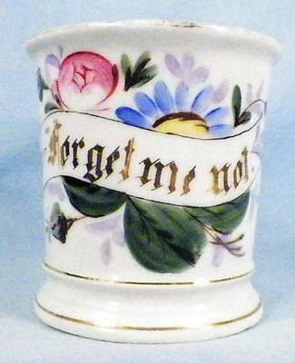 Antique Forget Me Not Mug Cup Porcelain Pink Blue Flowers Gold Victorian