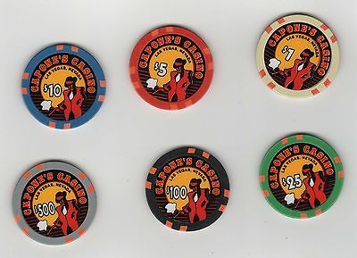 Fantasy Chip Set Of Six (6) Capone's Casino Las Vegas $1 $5 $10 $25 $100 $500