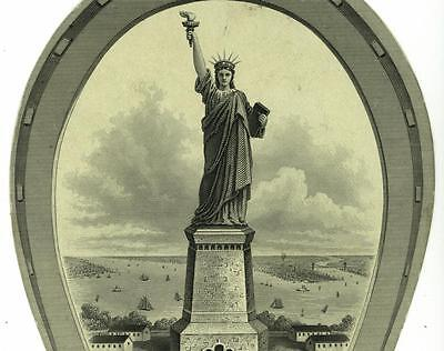 Patriotic Statue of Liberty St Nicholas Hotel NYC Die Cut Victorian Trade Card