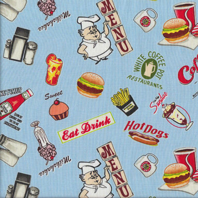 Retro Diner Food on Blue Hamburgers Hot Dogs Quilting Fabric FQ or Metre *New*