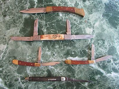Group of 5 vintage folding pocket knives - some old, some new