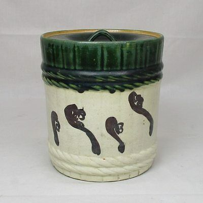 H542: Japanese ORIBE pottery water jar MIZUSASHI with appropriate work