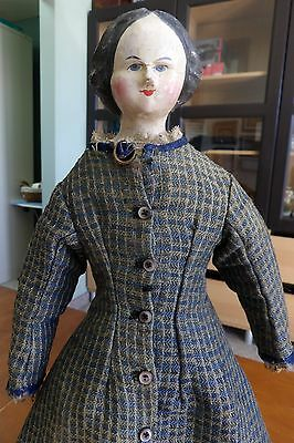 Antique German Carved Wooden Head Doll with Leather Torso and Cloth Legs