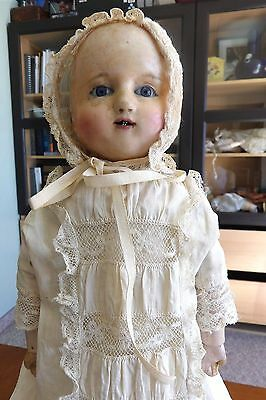 Antique German Motschmann Wax over Composition Baby with Blue Glass Eyes