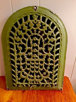 Vintage Cast Iron Gothic Arch Floor Grate Register Louvers Tombstone 1886 Mark