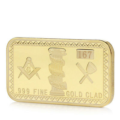 Gold Plated Masonic Commemorative Challenge Collection Coin Collectible Gift