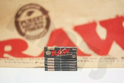6 Packs Of Authentic Raw Black Double Pressed Rolling Paper 1 1/4 Natural