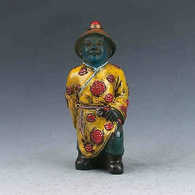 Chinese Colourful glazed Hand-carved Qing Dynasty officials Snuff Bottles