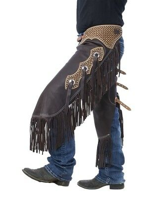 Tough-1 Western Apparel Mens Smooth Leather Chinks Brown 63-7915
