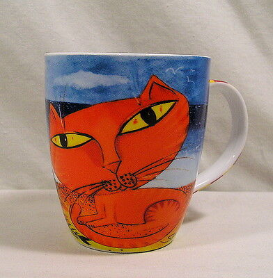 Big Eyed Orange Cat Mug, Fishing Boat Basket of Fish Colorful Cat Coffee Mug