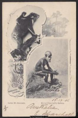 'Native Bear' and 'Aboriginal Lighting a Fire', dated 15.12.05