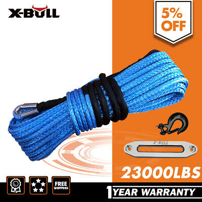 X-BULL Winch Rope Dyneema SK75 10MM x 30M Synthetic Car Tow Recovery Hook Blue