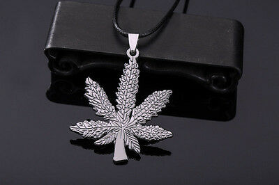 Hot Stainless Steel Silver Marijuana Leaf Pendant Leather Chain Necklace 19''