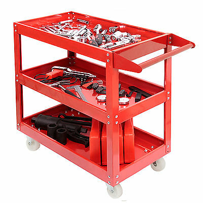 Durable Tool Trolley 3 Shelf Workshop Utility Tray Garage Equipment Wheel Cart
