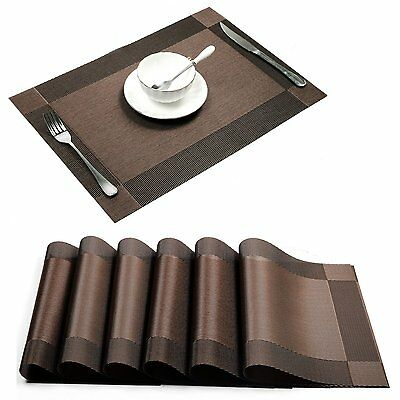 Placemats Set of 6 Rectangle Table Placemats Dinner Decor Place Mat Brown