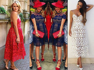Ladies Textured Crochet Lace MIDI Dress Formal Evening Party Ascot Racing Prom