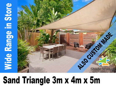 New Extra Heavy Duty Shade Sail- Right Angle Triangle 3m x4m x 5m Sand Color