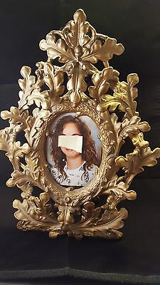 Victorian c1890 table-top picture Frame gold Brass 14""