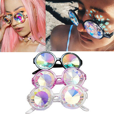 Kaleidoscope Glasses Rave Rainbow Glass Prism Diffraction Rave Goggles Frame New