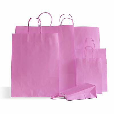 30 x Pink Paper Party Bags Twisted Handle 18x25x8cm Birthday Gift Wedding Favour