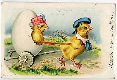 "POUSSINS HUMANISé.""L'ATTELAGE"".CHICKS HUMANIZED."" THE HARNESS"".OEUF.EGG."