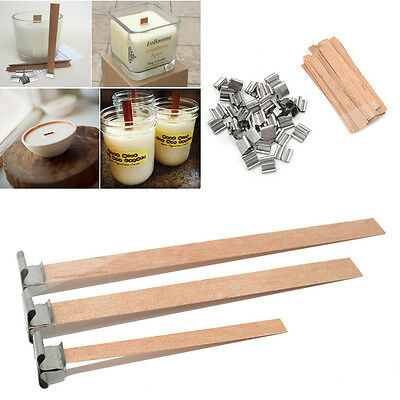 50 Pcs Wooden Wick Candle Core Sustainers Tab DIY Candle Making With Sustainer