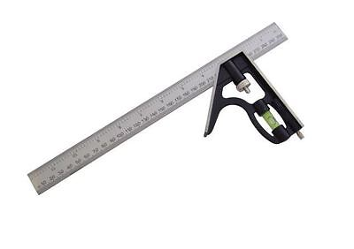 "Combination Set Square Stainless Steel Ruler 12"" 300mm Spirit Level"