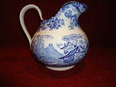Large Minton Blue and White Transferware Staffordshire Pitcher Genevese - Nice!