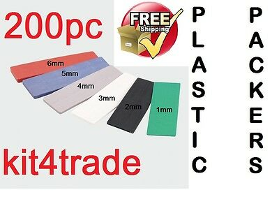 200 Plastic Window & Glazing Spacers, Flooring Packers  1mm - 6mm (100mmx28mm)