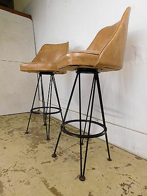 PAIR 1960s Mid Century Modern Swivel Bar Stools Black Wrought Iron Eiffel Tower