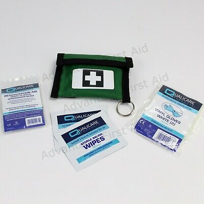 CPR Resuscitation Face Shield, Vinyl Gloves & Wipes in Green First Aid Pouch