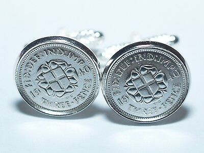 1937 80th Birthday Silver threepence coin cufflinks - Great gift idea