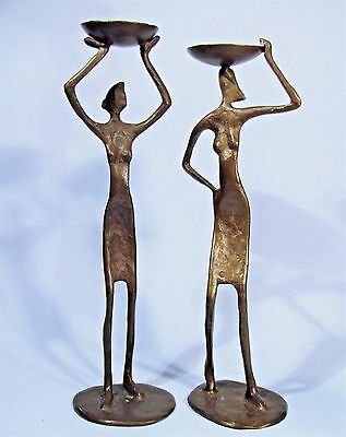 Mid-Century Modern Giacometti Style Bronze Candleholders Two Women Sculptures