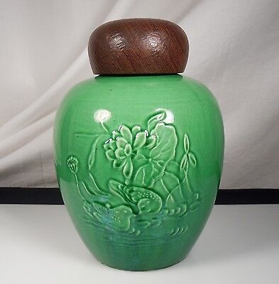 Chinese Green Ginger Jar w/ Carved Wood Lid