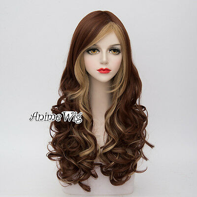 Lolita Women 65CM Long Curly Mixed Brown Fashion Party Cosplay Wig+Wig Cap