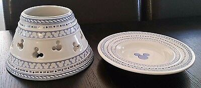 Disney, Gourmet Mickey, Blue & White Ceramic Candle Shade/Topper w/plate