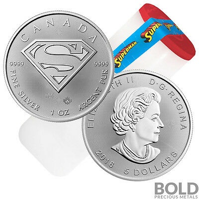 2016 Silver Canadian $5 SUPERMAN S-Shield .9999 - 1 oz (25 Coin Tube)