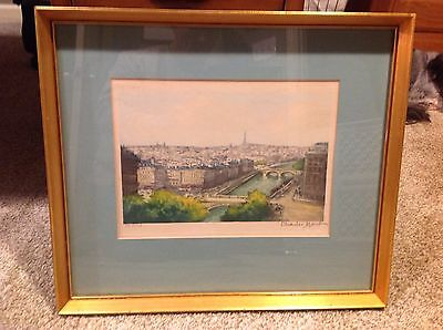 Framed Charles Mondin PARIS Art Print, Signed Numbered, River Seine Eiffel Tower