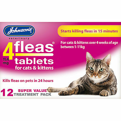 Johnsons 4Fleas Flea Tablets For Cats & Kittens - 12 Treatments Fleas Killer