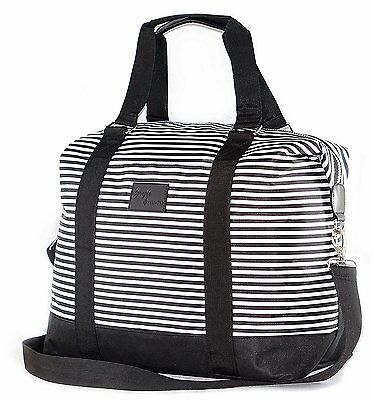 Travel Weekender Shoulder Carry-On Duffel Tote Bag Black & White Stripes