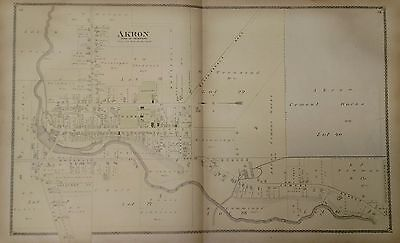 Antique Original 1880 Two Page Map of Akron, New York Property Owners