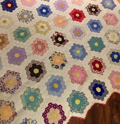 Antique 1920's  Grandmothers Flower Garden Quilt Hexagon Honeycomb