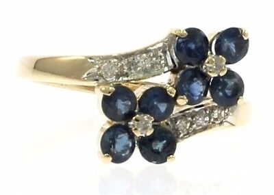Ladies High Quality Genuine Blue Sapphire and Diamond Ring in 14 Kt Yellow Gold