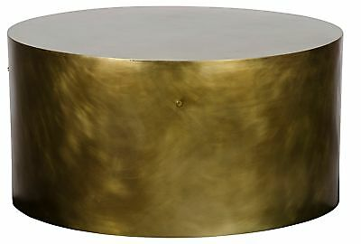 "36"" Round Coffee Cocktail Table Solid Metal Antique Brass Polished Modern"